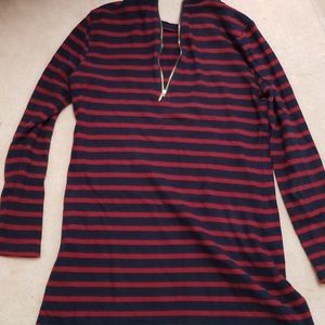 Striped top with half zip